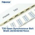 POWGE Trapez T20 Öffnen synchron gürtel breite 20/30/40/50/75mm Polyurethan stahl PU t20 20 T20 30 T20 40 öffnen Zahnriemen-in Antriebsriemen aus Heimwerkerbedarf bei