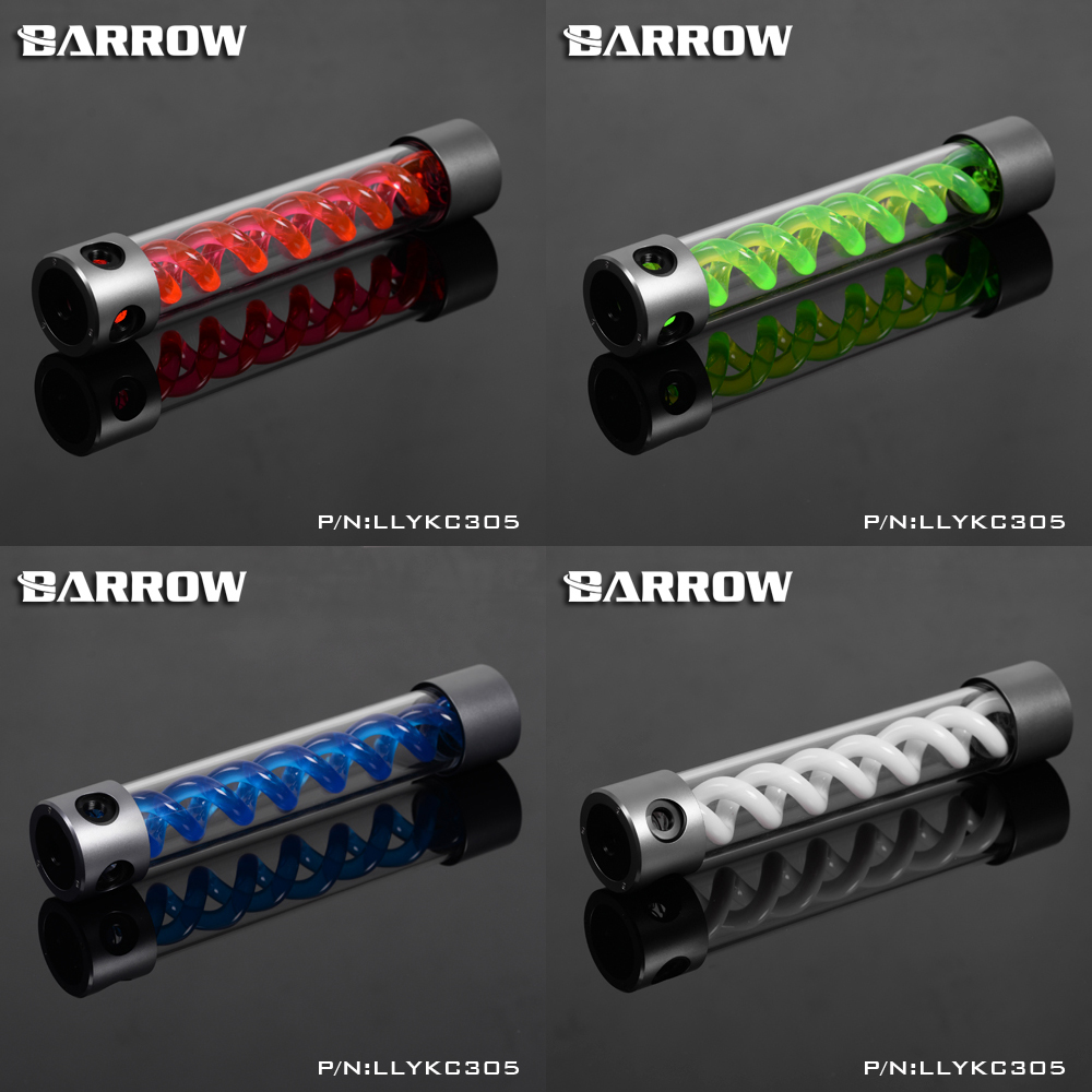 BARROW 305mm X 50mm Double Helix T-Virus POM + PMMA Cylindrical Water-Cooled Coolant Tank Light System Alloy Cover barrow 155mm x 50mm double helix t virus cylindrical water cooled coolant tank light system pom pmma white cover 5 color tlyk155