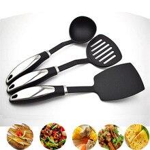 Memokey 3 pcs/set Cooking Tool Set Food-Grade Nylon Non-Stick Kitchen Utensils Heat-Resistant Utensil D