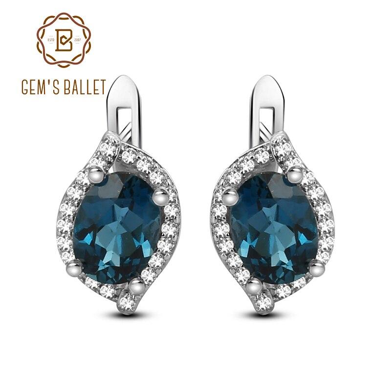 Gem s Ballet 3 15Ct Natural London Blue Topaz Gemstone Stud Earrings 925 Sterling Silver Earrings
