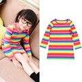 Bebé Niñas Niños Otoño Primavera de Manga Larga Vestido de Rayas de Colores de La Camiseta Vestidos 2-11Y