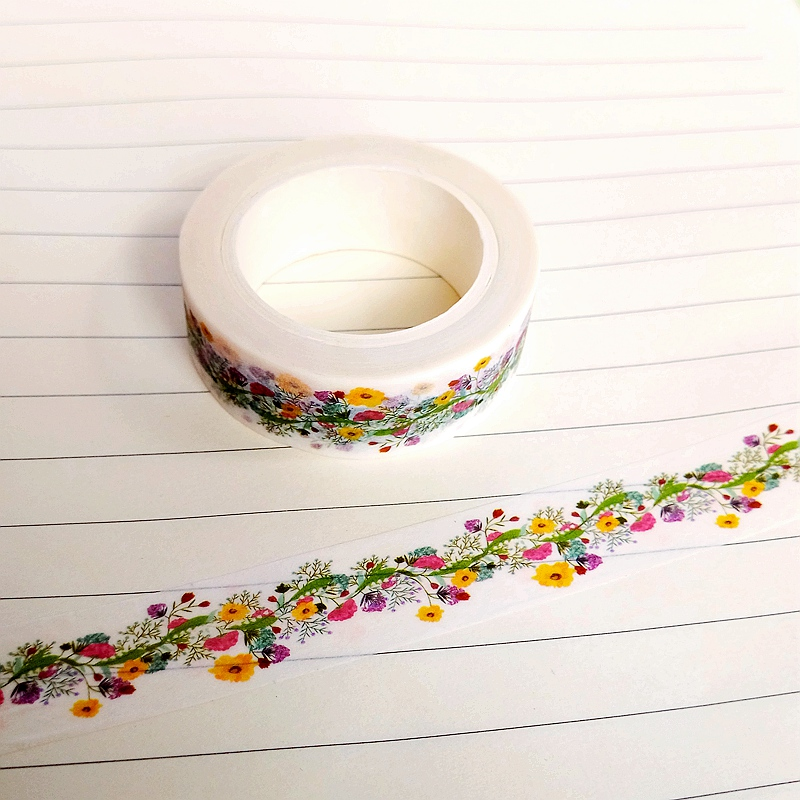 1X DIY Japanese Paper Natural Flower Washi Tape Paper Masking Tapes Adhesive Tapes Stickers Decorative Stationery Tape 1.5cm*10m