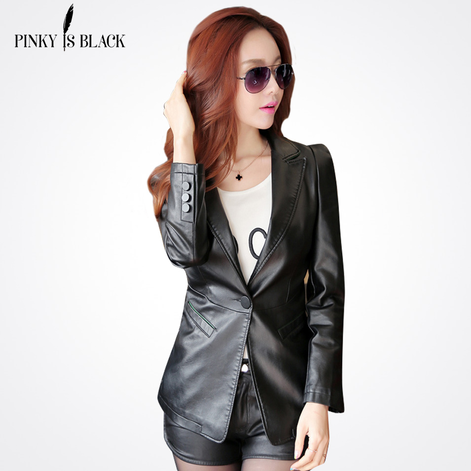 7ab06945ea202 Pinky Est Noir printemps et automne veste en cuir femmes bureau vêtements  costume slim demoiselle col en cuir de moto manteau survêtement dans En cuir  et ...