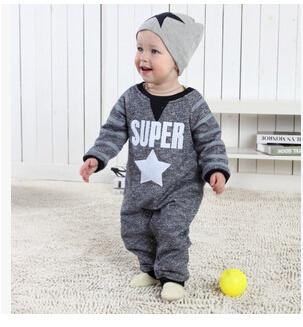 2015 outono bebê menino roupas Estrela Cruz longo-manga comprida de algodão Romper do bebê macacão de bebê recém-nascido bebe menina da roupa do bebê conjunto