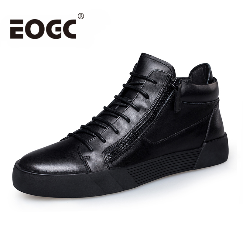 Retro Style Men Shoes 2019 Genuine Leather Casual Shoes Lace-up Black Shoes For Men's Ankle Boots Keep Warm Winter Boots Shoes