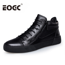 Retro Style Men Shoes 2018 Genuine Leather casual shoes Lace-up black shoes for Men's Ankle Boots keep warm winter boots shoes