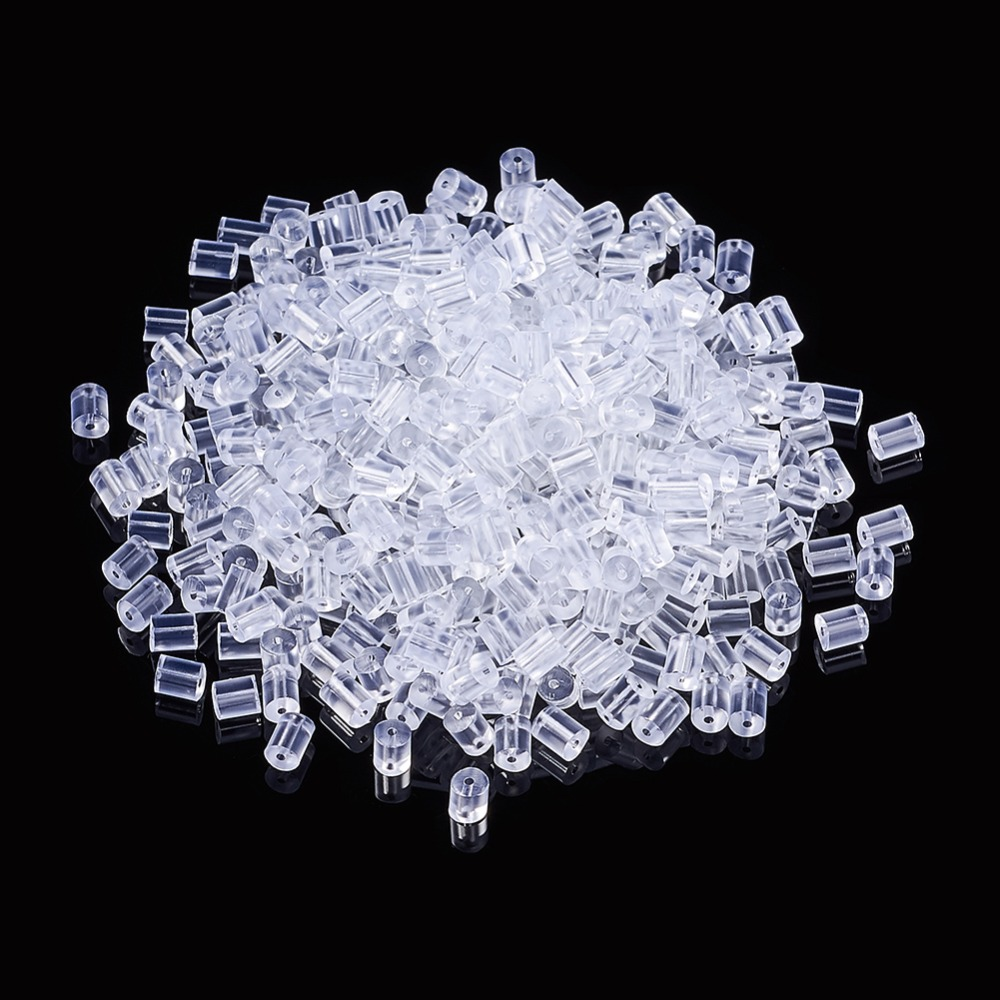 PandaHall 400pcs 3x3mm Plastic Earrings Back Ear Nuts For Jewelry Making DIY Accessories Wholesale Bulk Price Discount