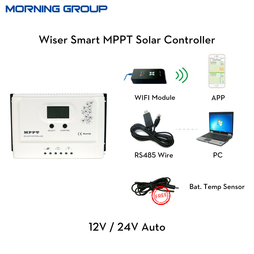 Wiser with RS485 MPPT solar charge controller recognition 12/24V auto 20A 30A 40A 50A charger настенная плитка almera ceramica noblesse delis marfil 20x20