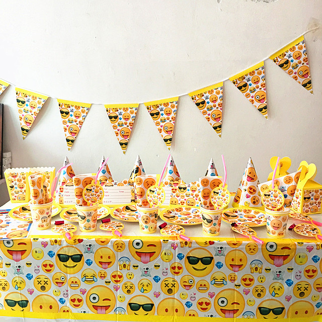 80pcs Lot Emoji Theme Party Set Kids Birthday Favor Plates Cups Napkins Hats Tablecloth Decoration