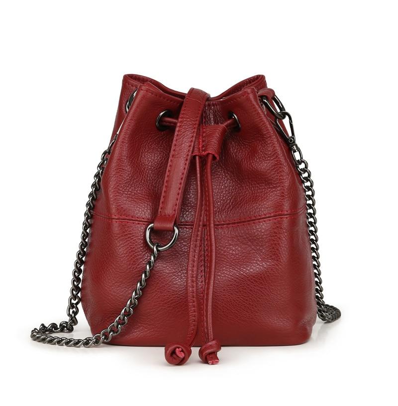 MJ Genuine Leather Women Bag Chain Crossbody Handbag Female Real Cow Leather Bucket Shoulder Bags Small Messenger Bag for Girls (13)