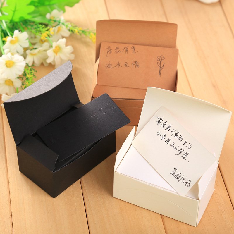 100pcs Kraft Paper Business Cards Word Card Message Card DIY Gift Card Memo Pad Sticker Post Sticky Notes Notepad 5.5cmx9.1cm