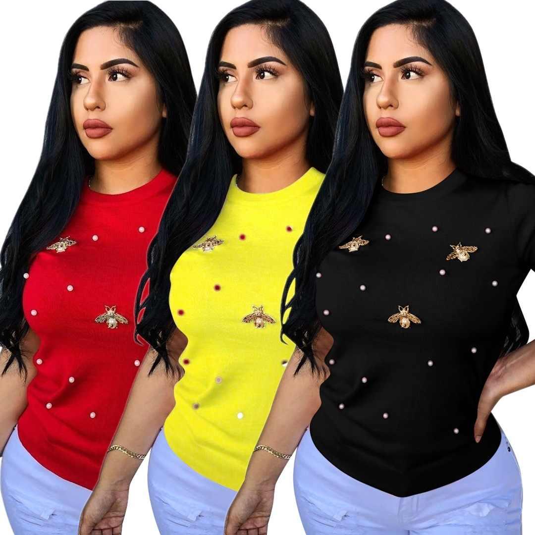Nuovo 2019 Delle Donne Africane O Manica Corta Collare di Perle in Rilievo Betterfly Classica T-Shirt di Modo di Estate T-Shirt Top P8291