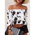 summer women lantern sleeve three quarter off shoulder strapless white flower shirt female crop top ruffle floral blouse 537
