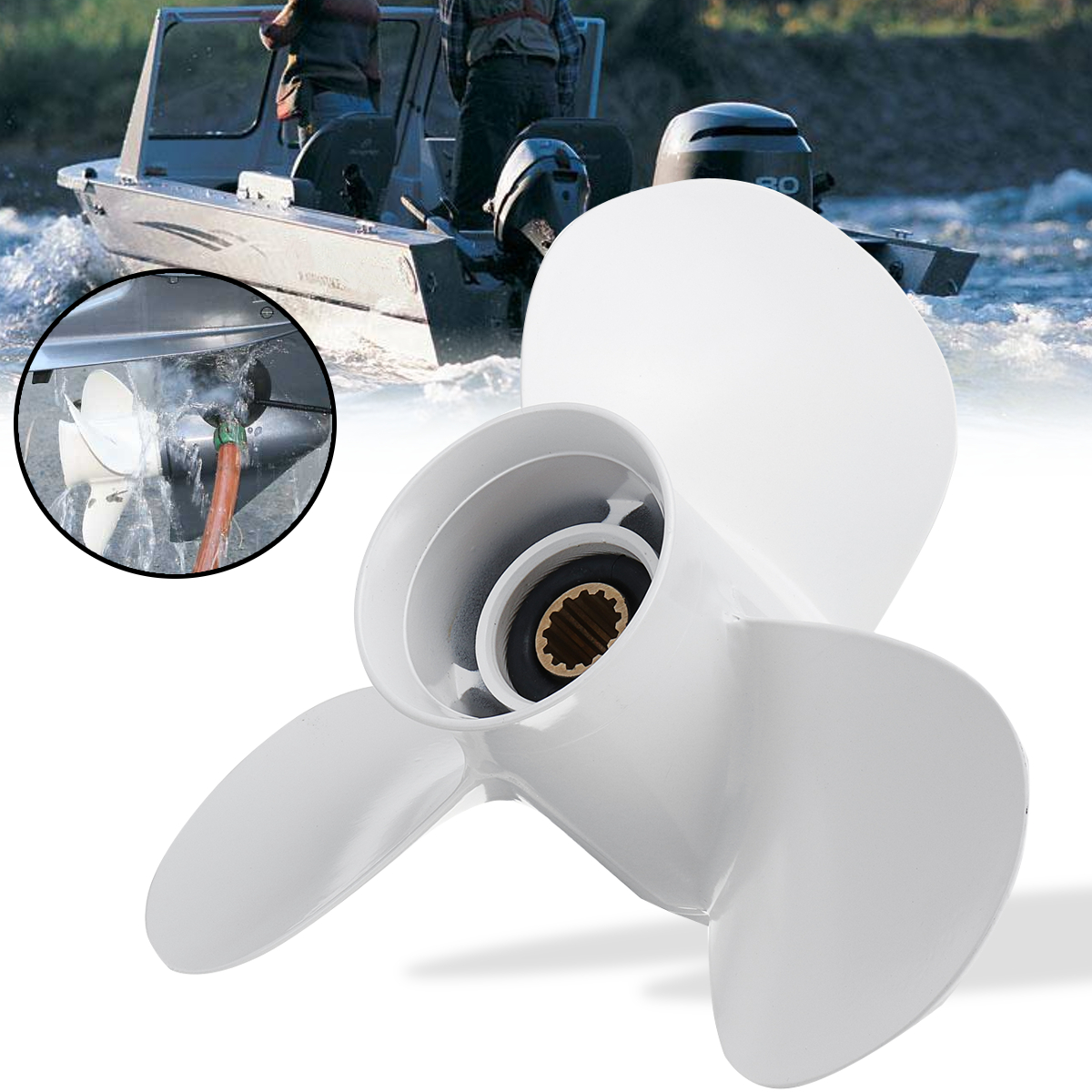 663-45958-01-EL For Yamaha 25-60HP 11 1/4 x 14 Boat Outboard Propeller Aluminum White Diameter 286mm 3 Blades 13 Spline Tooths