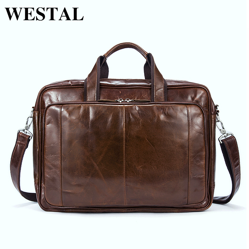 WESTAL Genuine Leather Men Handbag Bags Business Tablet Briefcase Man Crossbody Shoulder Male Messenger Men's Travel Bags 9205 men and women bag genuine leather man crossbody shoulder handbag men business bags male messenger leather satchel for boys