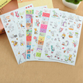 6 Sheets/set Rabbit  Book Sticker For Diary Scrapbook Calendar Notebook Label Mobile Phone Decoration Baby Girl  Toys