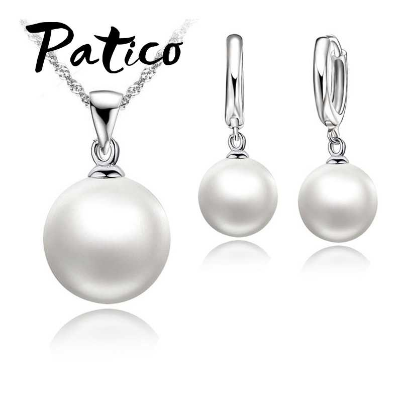 Fashion Nice Pearl Jewelry Set 925 Sterling Silver Necklace+Pearl Hoop Earrings Wedding Jewelry Sets