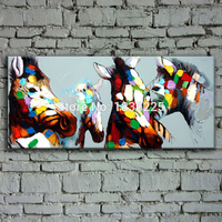 bright colored oil paintings abstract horse painting on canvas handmade simple funny animal paintings for bedroom decoration