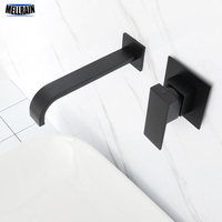Matt Black Plated Bathroom Wall Mounted Faucet Quality Brass Waterfall Basin Water Mixer Single Handle Square Tapware