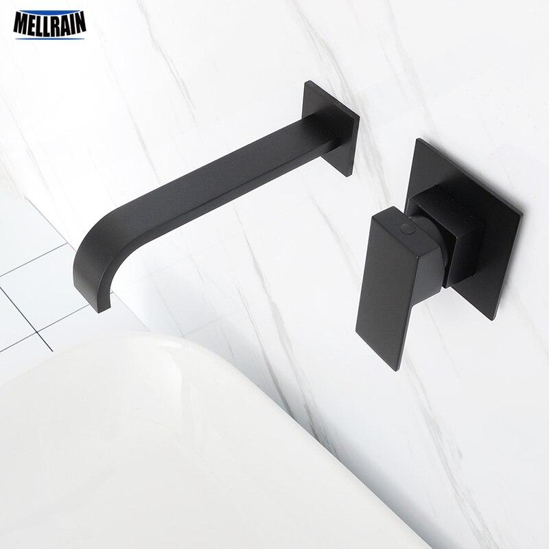 マットブラックメッキ浴室の壁マウントの蛇口品質の真鍮の滝流域水ミキサーシングルハンドル正方形 Tapware  グループ上の 家のリフォーム からの 流域水栓 の中 1