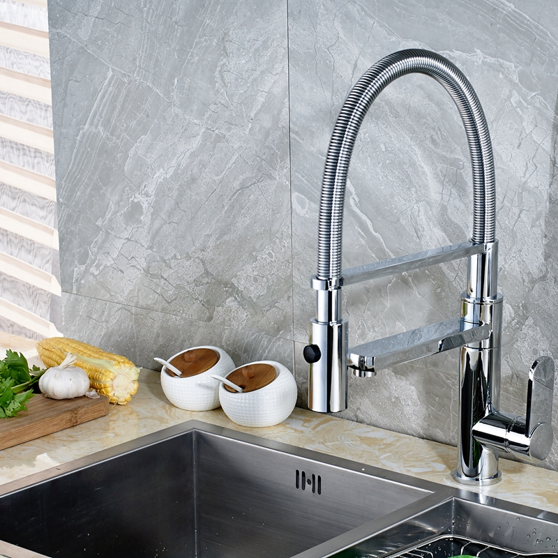 Newly Arrival Deck Mounted Polish Chrome Vessel Kitchen Faucet Mixer Tap Single Handle