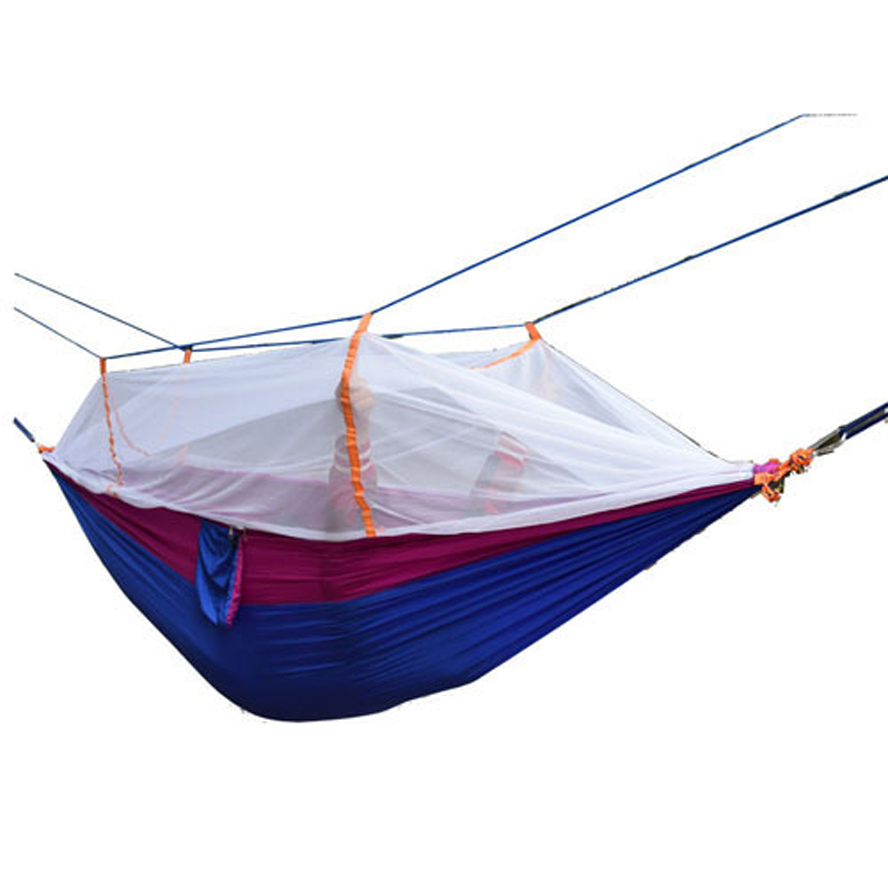 ФОТО Portable Fastness Outdoor High Strength Parachute Fabric Hiking/Camping Hammock Hanging Bed With Mosquito Net Sleeping Hammock