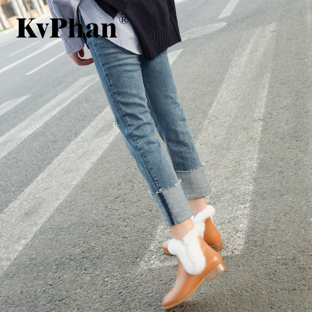 KvPhan Women Winter Square Heels 2 cm Black Warm Boots New Real Cow Leather Soft Real Rabbit Khaki Round Toe Basic Slip-on Shoes fall winter chic women rabbit fur slippers genuine leather flat heels shoes women round toe slip on warm lazy outdoor mules