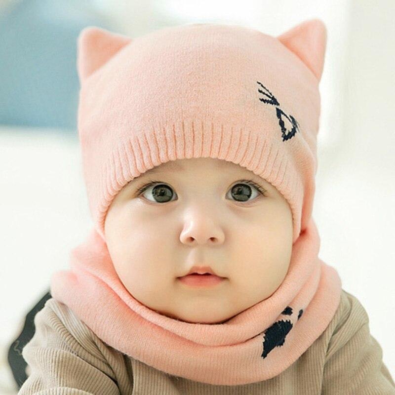 2 Teile/satz Warme Baby Hut Schal Gestrickte Schützen Ohr Baby Jungen Mädchen Hut Winter Beanie Schals Anzüge Cartoon Katze Neugeborenen Kappe