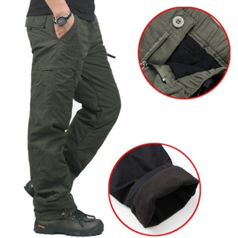 Winter Doppel Schicht männer Cargo Hosen Warme Dicke Baggy Hosen Baumwolle Hosen Für Männer Männliche Militärische Camouflage Taktische