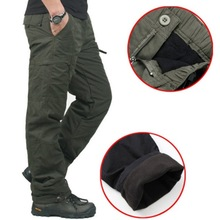 PERFWEED Winter Double Layer Cargo Pants Warm Thick Baggy Cotton Trousers For Men