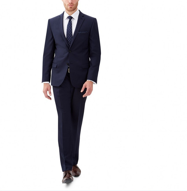 2017 New Arrival Mens Blazer Jacket Navy Groom Suits For Men Tuxedo Fashion Party Suits Masculino (jacket+pants) Custom Made