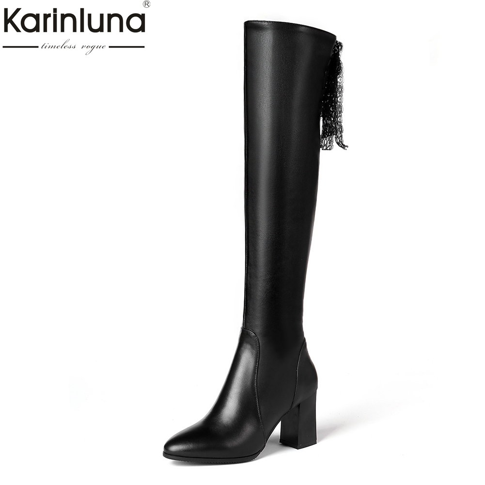 KarinLuna 2018 Genuine Leather Plus Size 31-45 Fashion Party Shoes Woman Boots High Heels Top Quality Woman Knee High Boots karinluna 2018 top quality size 33 41 brand shoes women knee high boots genuine leather square heels riding boots woman shoes