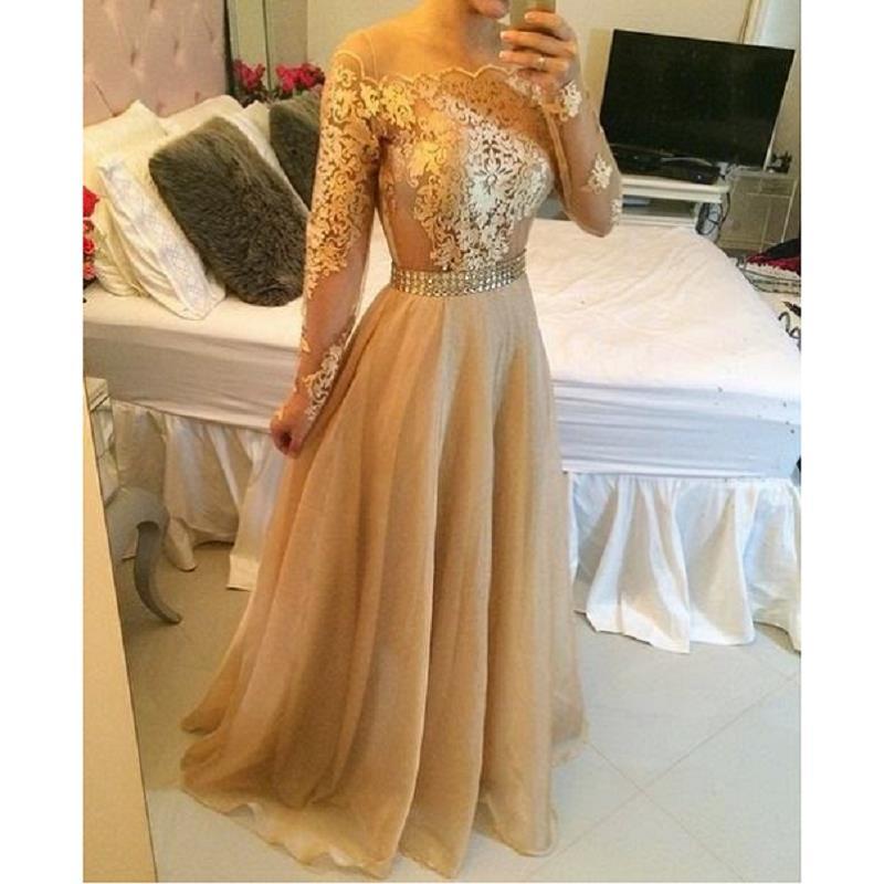 Шампанское золотые кружева вечерние платья с длинным рукавом 2019 халат De Soiree линия импортные платье в деловом стиле для вечеринки женское вы