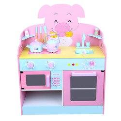 Imiteren chef licht Keuken Sets KOK LEUK spel familie piggy keuken set meisjes kinderen speelgoed keuken speelgoed Koken Kast Gereedschap