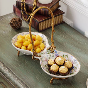 Fruit-Dish-Dish Compartment Ceramic Living-Room European-Style with Copper Dessert-Plate