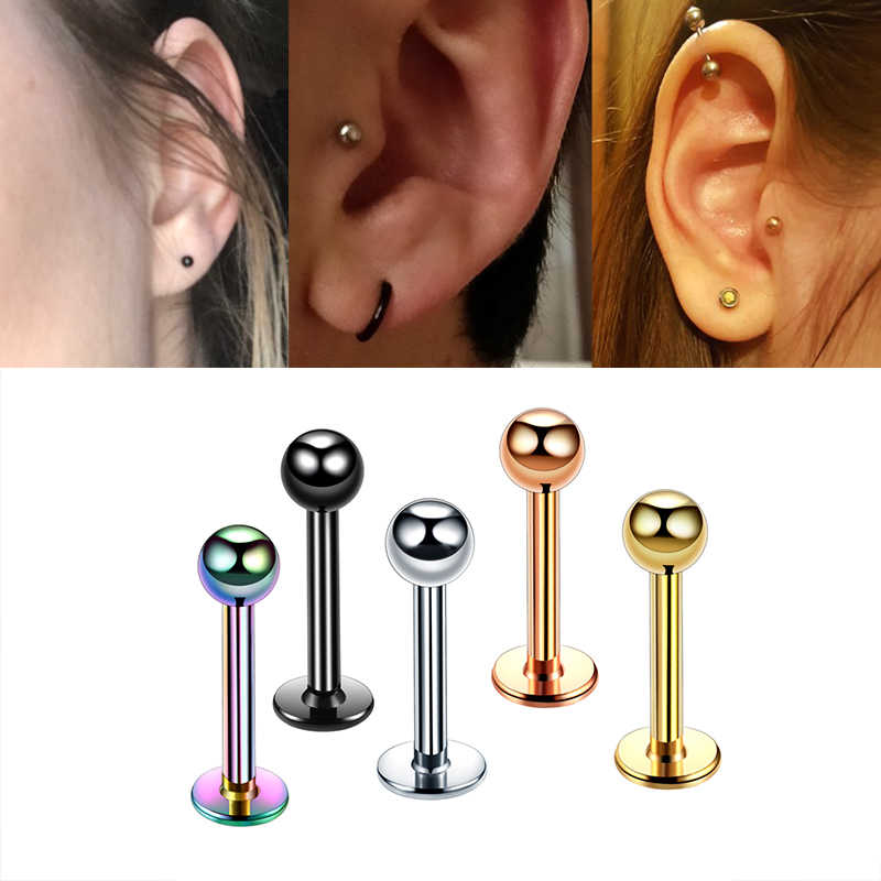 Starbeauty Rose Gold 2Pcs 16G Stainless Steel Labret Lip Rings Piercing Tragus Ear Rings Stud Titanium Anodized  Body Jewelry
