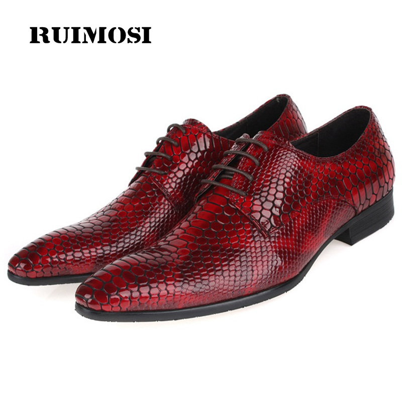 RUIMOSI Pointed Toe Crocodile Man Formal Dress Shoes Patent Leather Cow Male Oxfords Italian Designer Men's Bridal Flats EH75