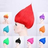 15 шт/лот 35 см Маковый парик для детей Товары для маскарадной вечеринки парик для троллей 10 цветов Детские парики на день рождения