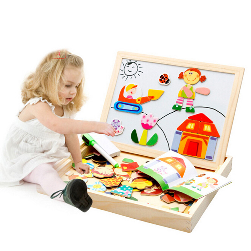 Multifunctional Educational Toys For Children Wooden Magnetic Puzzle Kids Jigsaw Baby Drawing Writing Board Kids Gift CL1444H mylb educational farm jungle animal wooden magnetic puzzle toys for children kids jigsaw baby s drawing easel board