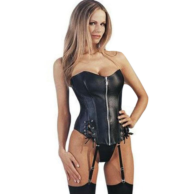 Black Strapless Faux Leather Sexy Corset Front Zipper Women Bustier S-XL W1152