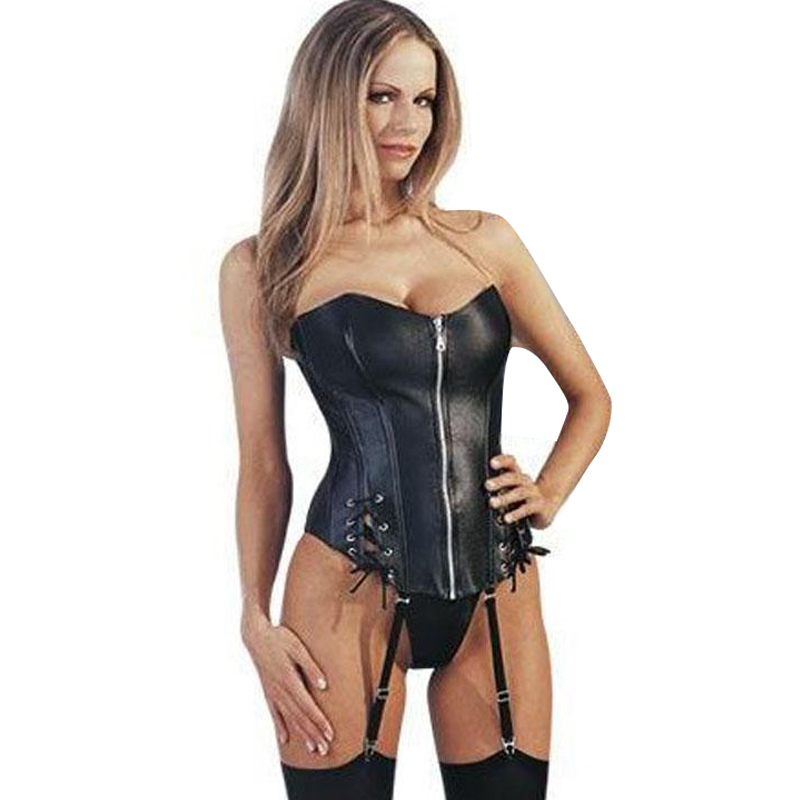 Steampunk Black Strapless PVC Faux Leather   Corset   Sexy Lace Up Front Zipper Slimming   Corset   Women Overbust   Bustier   Waist   Corsets