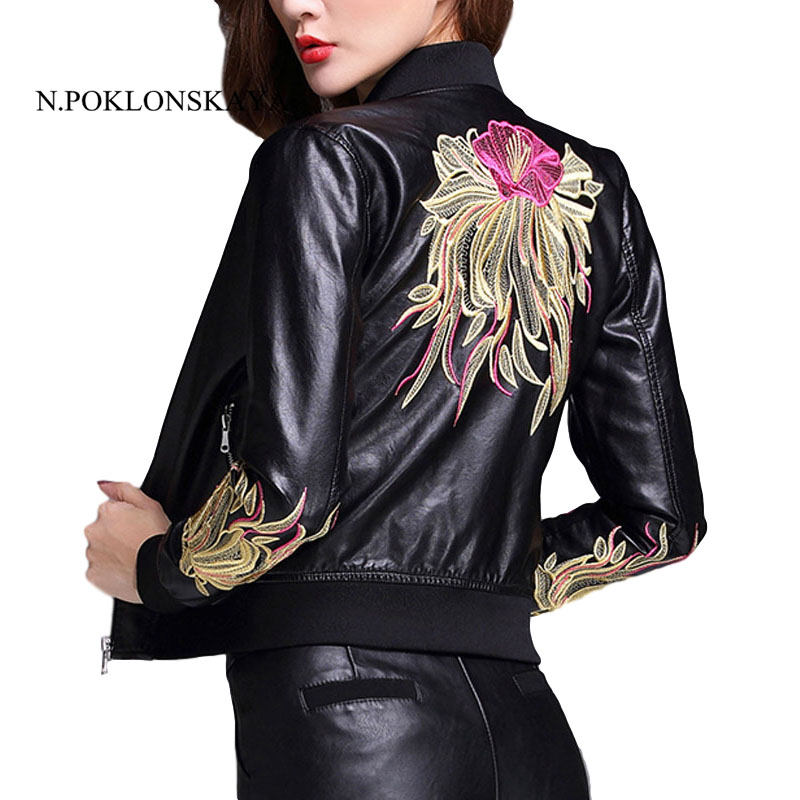 Faux Soft Leather Embroidery Jackets Tops 2017 New Fashion Autumn Women Pu Black Zippers Coat Winter Motorcycle Outerwear Black