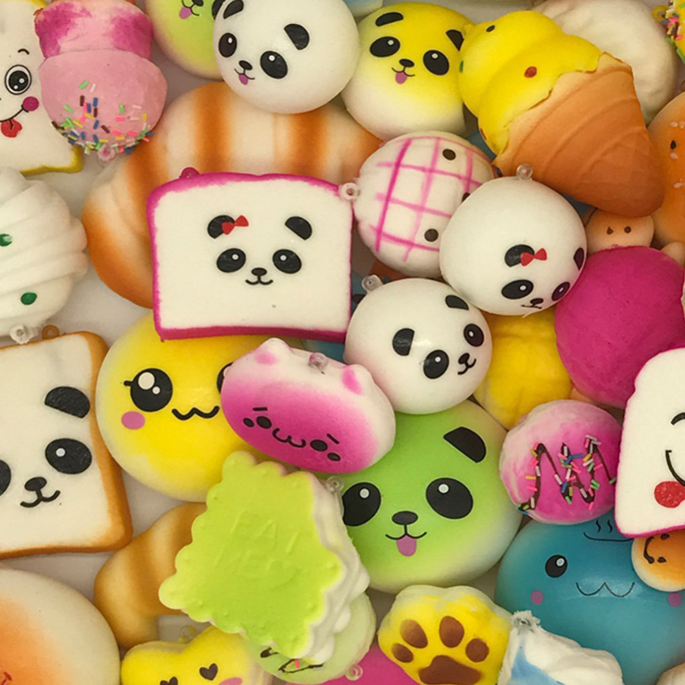 30pcs DIY Soft Funny Squishy Slow Rising Squeeze Toast Cake Bread Panda ice Cream Cell Phone Straps Toy Phone Decoration