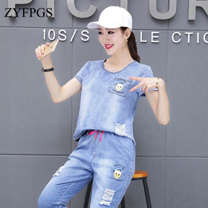 ZYFPGS 2019 2 Piece Summer Tops Set Women Tracksuit For Women Light Blue Denim Suit Vintage