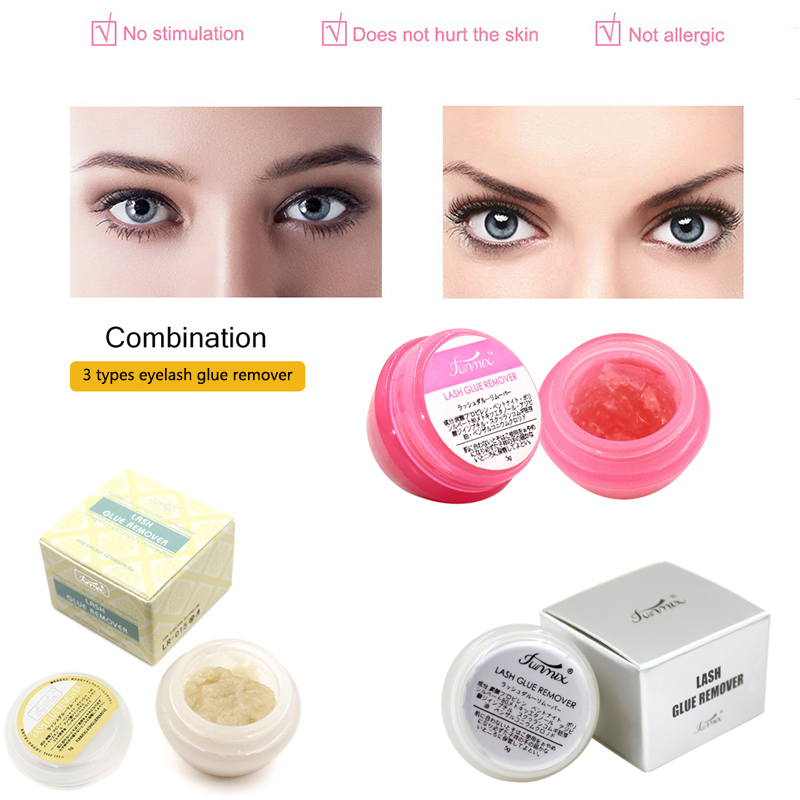3 Types Fase Eyelash Glue Remover Eyelash Extensions Tool Cream Fragrancy Smell Glue Remover With Cleansing Cotton Lash Supplies