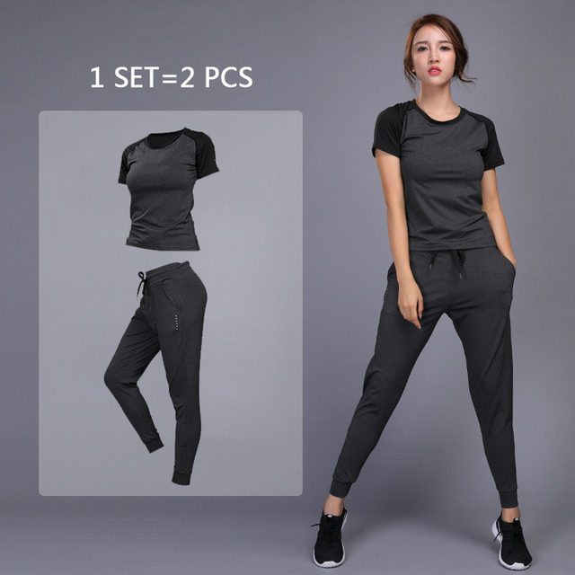 d7122379d OLOEY Women s sportswear Yoga Sets Jogging Clothes Gym Workout Fitness  Training Yoga Sports T-Shirts+Pants Running Clothing Suit
