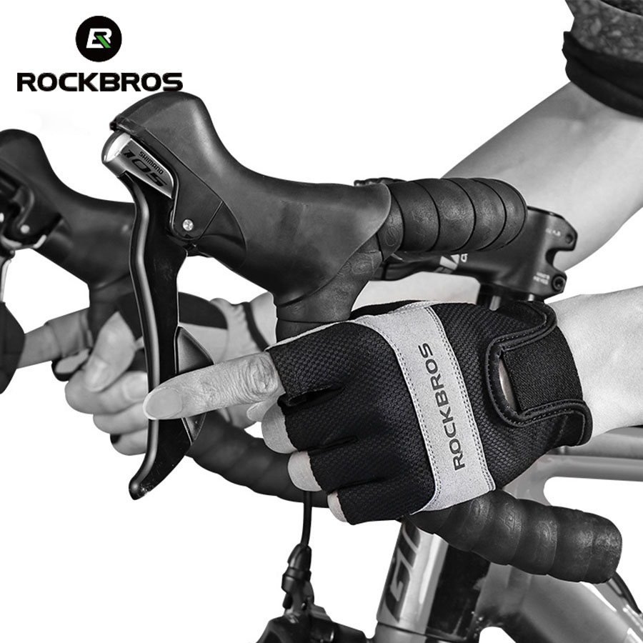 ROCKBROS Cycling Bike Half Finger Gloves Shockproof Breathable MTB Road Bicycle Gloves Men Women Sports Gloves Cycling Equipment
