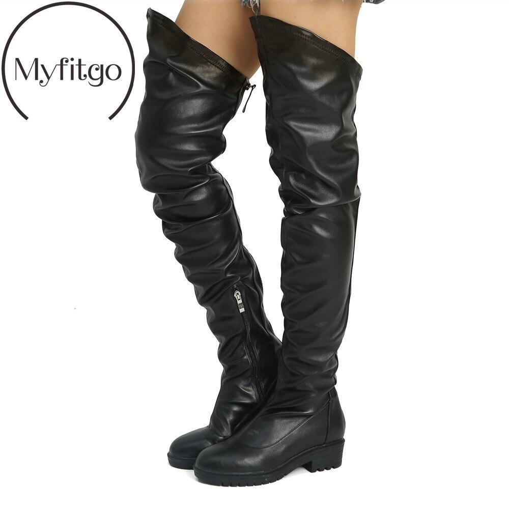 Large Size Winter PU Thigh Boots Women Over the Knee High Boots Ladies Block Heels Zipper