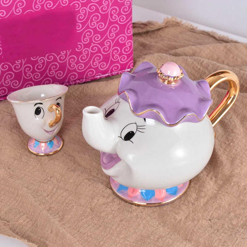 Kartun Kecantikan dan Binatang Tea Set Teko Piala Mrs Potts Chip Bela E Fera Pot Mug Ketel Susu kopi Kreatif Hadiah dengan Logo