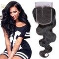 Reis cabelo fábrica brasileira onda do corpo do cabelo virgem lace closure 4*4 Fechamento Onda Do Corpo Brasileiro Virgem do Cabelo humano 1 pc 8-20 polegada